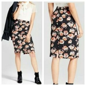 Poppy Floral Print Pencil Skirt